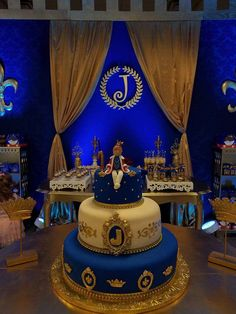 Royal blue and gold Prince birthday party cake! See more party ideas at CatchMyParty.com!