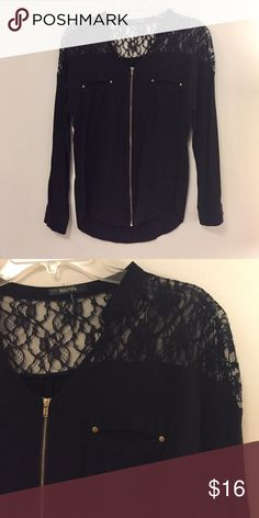 LAST CHANCE 🔥Lace Shoulder Zip Shirt Black with gold hardware. Zips entirely up front. Lace shoulders and two pockets. No tag but fits small RolyPoly Tops Blouses