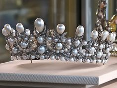 Empress Eugenie's Pearl and Diamond Tiara (1853) ~ A wedding gift from Napoleon III to Empress Eugenie on the occasion of their marriage. Currently housed in the Louvre.