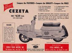 1960 Cezeta motorscooter manufactred by Jawa Vintage Motorcycles, Cars And Motorcycles, Vespa, Bmw Isetta, Motor Scooters, Vintage Posters, Motorbikes, Retro, Wheels