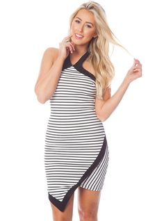 Black and white stripe bodycon halter dress with black asymmetrical binding trim. For a night on the town, pair with pumps and earrings. Clothing Company, Wholesale Clothing, Black And White, Stylish, Clothes, Pumps, Dresses, Sun, Night