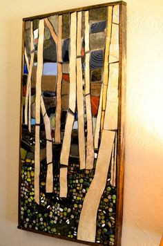 Mixed media mosaic wall art Birch Tree Study www.facebook.com/Sayitwithmosaics