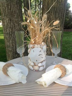 I like the grasses! Sea Shell Nautical Wedding Centerpiece with by BeachBasketBride, $40.00