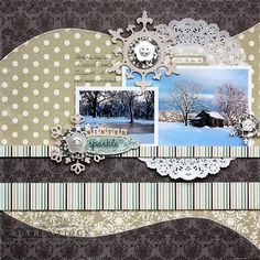 This beautiful winter layout by Shellye McDaniel used the Glistening collection by Authentique!