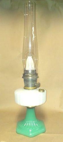 Aladdin Corinthian White Green Moonstone Mantle Kerosene Coal Oil Lamp & Globe.