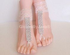 Free ship ivory lace pearl rhinestone gothic barefoot sandals wedding prom party steampunk bangle beach anklets bangles