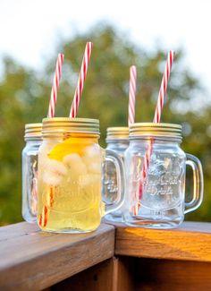 Mason Jar Mugs with Handle, Tin Lid and Plastic Straws. 16 Oz. Each. Old Fashion Drinking Glasses