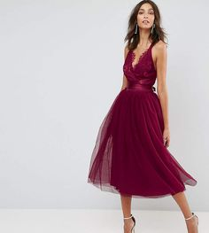 ASOS Tall ASOS TALL PREMIUM Lace Top Tulle Midi Prom Dress with Ribbon Ties. #promoted#prom