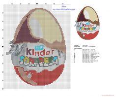 Ovetto Kinder di cioccolato schema punto croce altezza 100 crocette (click to view)