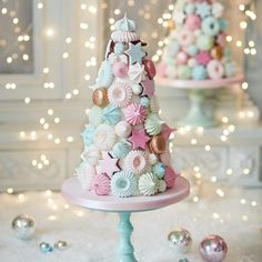 How dreamy is our Confectionery Christmas Tree? An indulgent centrepiece made of meringue covered with scrumptious cinnamon stars, white chocolate macarons and pretty meringue kisses. Available to order online at www.peggyporschen.com/Christmas