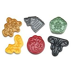A set of 6, these Game of Thrones House Sigil Cookie Cutters have the shape of their respective houses. The set includes the house sigils of Baratheon, Greyjoy, Lannister, Stark, Targaryen, and Tyrell.