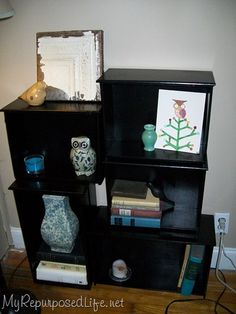 repurposed drawers  may try this with extra drawers