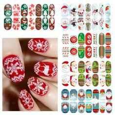 Christmas Full Cover Adhensive Nail Art Wrap Stickers Supplies
