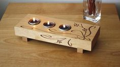 Build a Tea-Light Candle Holder Home Project: Choose from either an Art Nouveau- or Art Deco-inspired design when making this great accent lighting project. Wood Burning Crafts, Wood Burning Patterns, Wood Burning Art, Wooden Projects, Wooden Crafts, Tea Light Candles, Tea Lights, Night Lights, Soy Candles