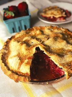 Rhubarb–Strawberry Pie - Home baker Louise Piper won a 1997 blue ribbon at the Iowa State Fair with this pie Best Rhubarb Recipes, Rhubarb Desserts, Strawberry Rhubarb Pie, Pie Recipes, Just Desserts, Dessert Recipes, Amish Recipes, Baking Recipes, Easy Recipes