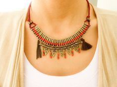 Check out this item in my Etsy shop https://www.etsy.com/listing/228833656/red-ethnic-necklace-boho-jewelry-ethnic
