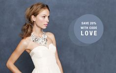 Save 20% on the J. Crew Spring Wedding Collection!  #wedding #weddingdresses #weddinggowns