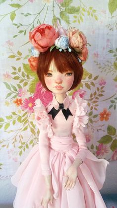 Tiah OOAK Hand Sculpted Art Doll in Roses and Pink by rosannasart