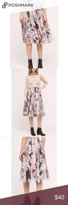 Anthropologie Varun Dahl Skirt This skirt is gently used no tags but only worn about twice. This skirt is beautiful floral circle skirt, swishy, with pleats of different fabrics made in India. It is so beautiful and easy to use both in spring and fall. Anthropologie Skirts Midi