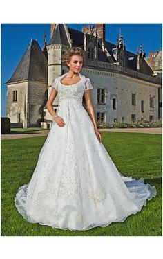 A-line Scoop Chapel Train Organza Wedding Dress With A Wrap