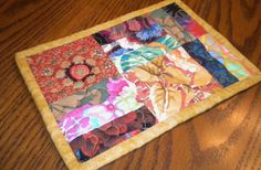 Quilted Mug Rug Snack Mat PinkGold and by SharleesQuiltCottage