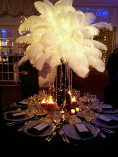 Touch of Elegance - Ostrich Feathers and Crystal Centerpiece