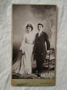 Antique Hungarian cabinet photo, wedding couple, bride, bridegroom Siederhoffer Truckee California, California City, Austro Hungarian, Outdoor Woman, Concert Hall, Female Portrait, Rare Antique, Wedding Couples, Beautiful Bride