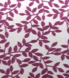 Blizzard Fleece Fabric Gray And Bordeaux Leaves