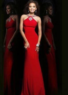 Red Long Sequined Halter Neck Jersey 21301 Mermaid Prom Dress By Sherri Hill [Mermaid Prom Dress By Sherri Hill] - $182.00