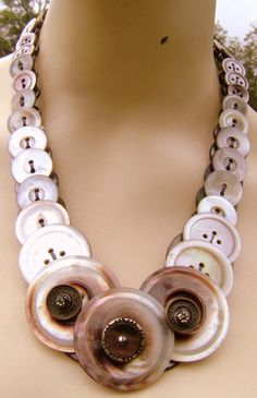 Vintage Button Necklace  MOP with Antique Glass by MRSButtons, $50.00 Awesome!