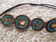 Beaded Headband // Turquoise & Burnished Gold Headband // Handmade // Boho Headband //  Hair Accessory by freeyourdream on Etsy https://www.etsy.com/listing/224968542/beaded-headband-turquoise-burnished-gold
