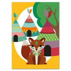 Oktoberdots Postkaart Indianen Vos