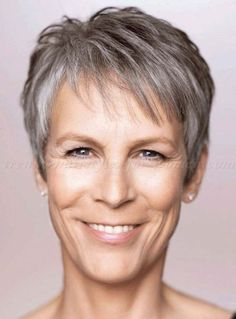 short hairstyles over 50, hairstyles over 60 - Jamie Lee Curtis short grey hairstyle
