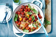 One pan chicken and prosciutto with tomatoes, mozzarella and basil