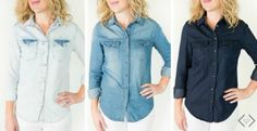 Get a Chambray Denim Top for just $19.95 shipped today!