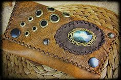 Tribal Leather tobacco pouch bag with a by BaliWoodShop on Etsy, €49.00