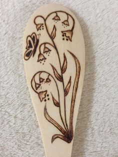 Wood Burned Spoon Floral by BurnedUp on Etsy