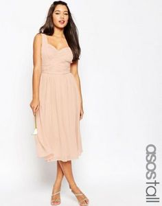 4cc1328bea ASOS TALL WEDDING Ruched Panel Midi Dress Latest Outfits, Latest Fashion  Clothes, Fashion Outfits