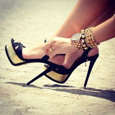 black + gold stiletto