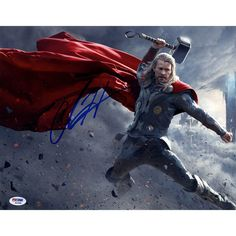 Chris Hemsworth Signed 11x14 Thor Photo Horizontal with Hammer Leaping (PSA/DNA)