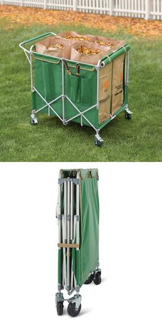 The Foldaway Four Bag Leaf Cart. This is the cart that holds four lawn-clipping bags and folds away for easy winter storage. Exclusively from Hammacher Schlemmer, the cart rolls easily on four casters and keeps four lawn bags upright at all times, allowing you to easily fill them with leaves and detritus.