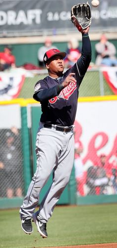 22b1bf7825e Cleveland Indians Jose Ramirez grabs the line shot hit by the Cincinnati  Reds Matt Kemp in