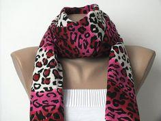 Pashmina Scarf  Leopard Scarf  Pink Red Black and by cocoshwoman, $22.00