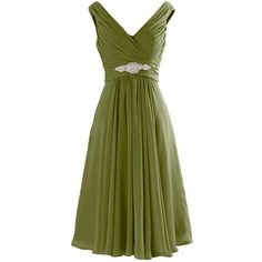Yougao Women's V Neck A-Line Knee Length Chiffon Evening Party Dresses (180 RON) ❤ liked on Polyvore featuring dresses, v neck cocktail dress, green chiffon dress, chiffon cocktail dress, chiffon bridesmaid dresses and green bridesmaid dresses