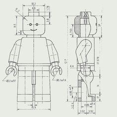 Lego Minifigure technical drawing