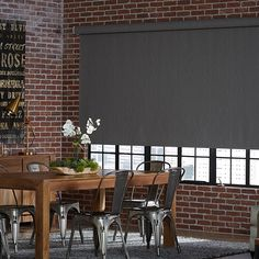 Blinds.com Signature Blackout Roller Shade in pattern Menswear Charcoal