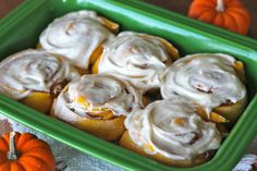 Pumpkin Cinnamon Rolls with Brown Butter Cream Cheese Frosting.