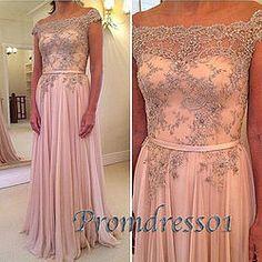 #promdress01 prom dresses - Elegant cap sleeve pink lace chiffon long prom dress for teens, ball gown, graduation dress #coniefox #2016prom