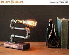 El 30% de venta Industrial iluminación - Steampunk - lámpara de sobremesa - Edison lámpara - Vintage Light - Lámpara de pie-Lampara de noche - iluminación rústica - la pipa
