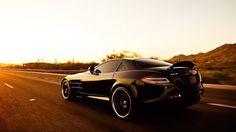 Mercedes-Benz SLR sports, black car wallpaper